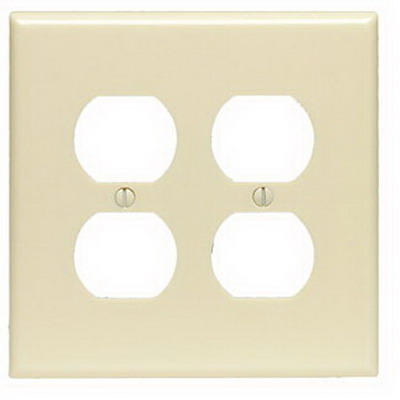 Leviton PJ82-T 2-Gang Midway-Size Duplex Receptacle Wallplate; Device Mount, Thermoplastic Nylon, Light Almond