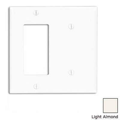 Leviton 80708-T Decora® 2-Gang Standard-Size Combination Wallplate; Strap Mount, Thermoplastic Nylon, Light Almond
