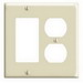Leviton 80455-I Decora® 2-Gang Standard-Size Combination Wallplate; Device Mount, Thermoset Plastic, Ivory