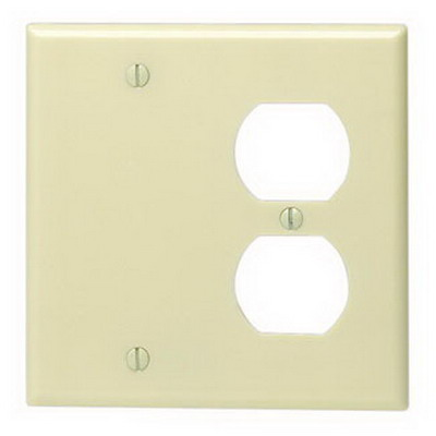 Leviton 86008 2-Gang Standard-Size Combination Wallplate; Box Mount, Thermoset Plastic, Ivory