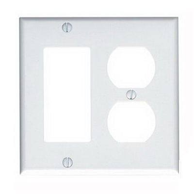 Leviton 80455-W Decora® 2-Gang Standard-Size Combination Wallplate; Device Mount, Thermoset Plastic, White