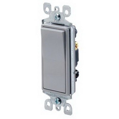Leviton 5603-2GY Decora® AC Quiet 3-Way Switch; 1-Pole, 120/277 Volt AC, 15 Amp, Gray