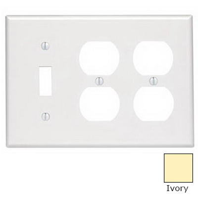 Leviton 86047 3-Gang Standard-Size Combination Wallplate; Device Mount, Thermoset Plastic, Ivory