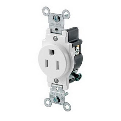 Leviton 5015-W Double Pole Straight Blade Single Receptacle; Wall Mount, 125 Volt, 15 Amp, White