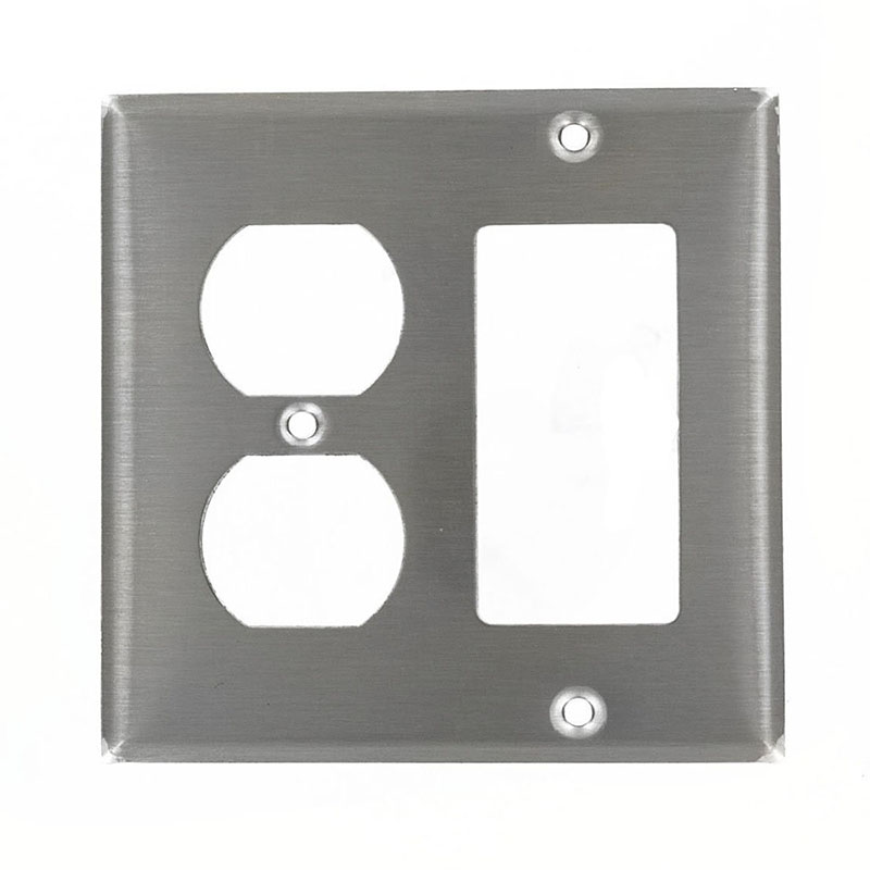 Leviton 84455-40 Decora® 2-Gang Standard-Size Combination Wallplate; Device Mount, Stainless Steel, Silver