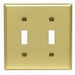 Leviton 81009 2-Gang Standard-Size Toggle Switch Wallplate; Device Mount, Brass