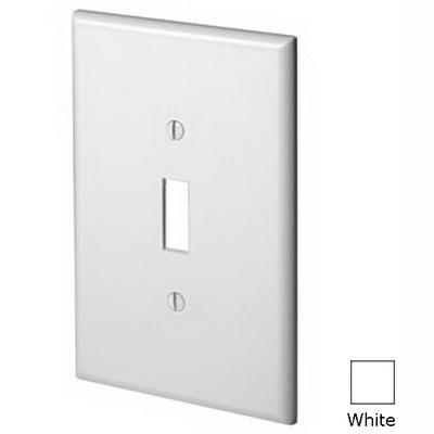 Leviton 88101 1-Gang Oversized Toggle Switch Wallplate; Device Mount, Thermoset Plastic, White
