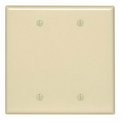 Leviton PJ23-T 2-Gang Midway-Size No Device Blank Wallplate; Box Mount, Thermoplastic Nylon, Light Almond