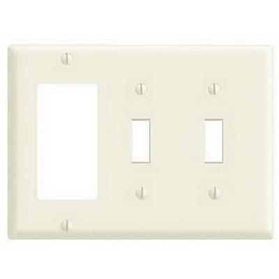 Leviton PJ226-T Decora® 3-Gang Midway-Size Combination Wallplate; Device Mount, Thermoplastic Nylon, Light Almond