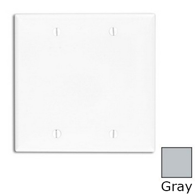 Leviton 80725-GY 2-Gang Standard-Size No Device Blank Wallplate; Box Mount, Thermoplastic Nylon, Gray