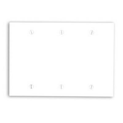 Leviton 88033 3-Gang Standard-Size No Device Blank Wallplate; Box Mount, Thermoset Plastic, White