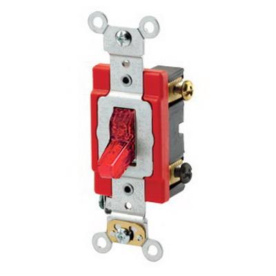 Leviton 1222-PLR Illuminated On AC Quiet Pilot Light Toggle Switch; 2-Pole, 120 Volt AC, 20 Amp, Red