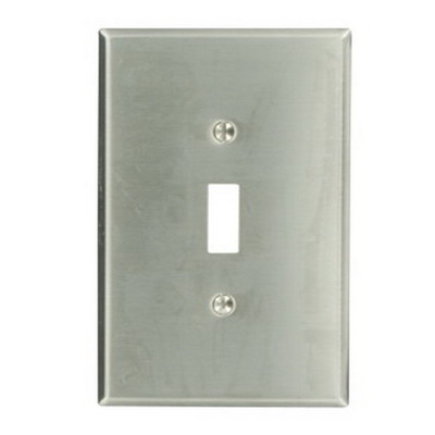 Leviton 84101 1-Gang Oversized Toggle Switch Wallplate; Device Mount, Stainless Steel, Silver