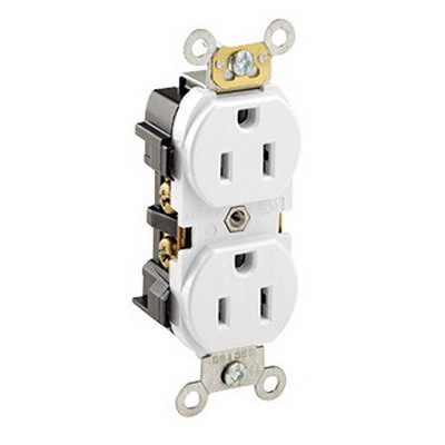 Leviton 5252-W Double Pole Straight Blade Duplex Receptacle; Wall Mount, 125 Volt, 15 Amp, White