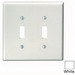 Leviton 80509-W 2-Gang Midway-Size Toggle Switch Wallplate; Device Mount, Thermoset Plastic, White