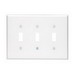 Leviton 80511-W 3-Gang Midway-Size Toggle Switch Wallplate; Device Mount, Thermoset Plastic, White