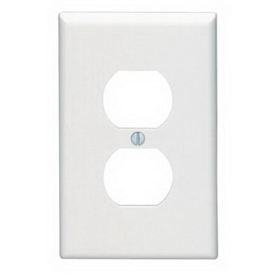 Leviton 80503-W 1-Gang Midway-Size Duplex Receptacle Wallplate; Device Mount, Thermoset Plastic, White