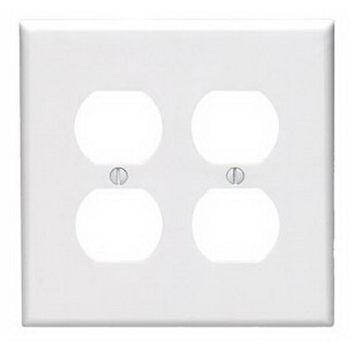 Leviton 80516-W 2-Gang Midway-Size Duplex Receptacle Wallplate; Device Mount, Thermoset Plastic, White
