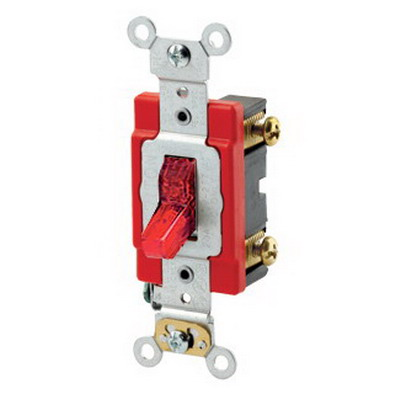 Leviton 1221-PLR Extra Heavy Duty Grade Illuminated On AC Quiet Pilot Light Toggle Switch; 1-Pole, 120 Volt AC, 20 Amp, Red