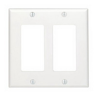 Leviton 80409-NW Decora® 2-Gang Standard-Size GFCI Decorator Wallplate; Device Mount, Thermoplastic Nylon, White