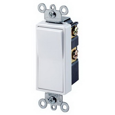 Leviton 5602-2W Decora® AC Quiet Rocker Switch; 2-Pole, 120/277 Volt AC, 15 Amp, White