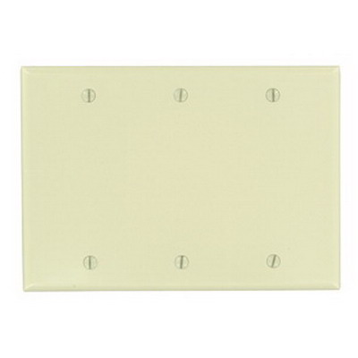 Leviton 86033 3-Gang Standard-Size No Device Blank Wallplate; Box Mount, Thermoset Plastic, Ivory
