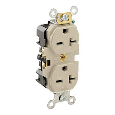 Leviton 5462-I Double Pole Straight Blade Duplex Receptacle; Wall Mount, 250 Volt, 20 Amp, Ivory