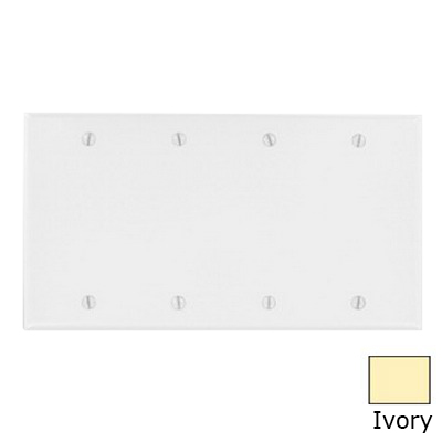Leviton 86064 4-Gang Standard-Size No Device Blank Wallplate; Box Mount, Thermoset Plastic, Ivory