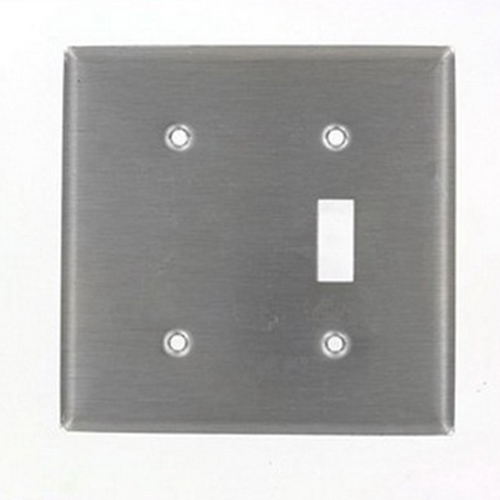 Leviton 84077-40 2-Gang Standard-Size Combination Wallplate; Strap Mount, Stainless Steel, Silver