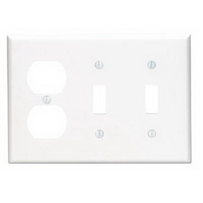 Leviton 80721-W 3-Gang Standard-Size Combination Wallplate; Device Mount, Thermoplastic Nylon, White