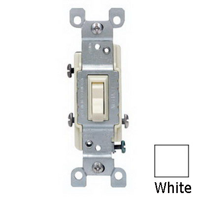 Leviton 1453-WCP AC Quiet 3-Way Framed Toggle Switch; 120 Volt AC, 15 Amp, White