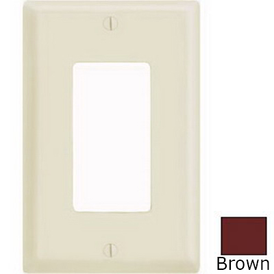 Leviton 80601 Decora® 1-Gang Midway-Size GFCI Decorator Wallplate; Device Mount, Thermoset Plastic, Brown