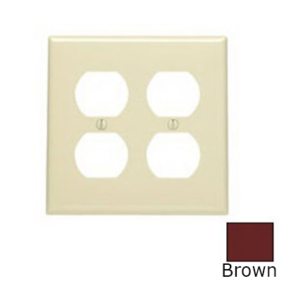 Leviton 80716 2-Gang Standard-Size Duplex Receptacle Wallplate; Device Mount, Thermoplastic Nylon, Brown