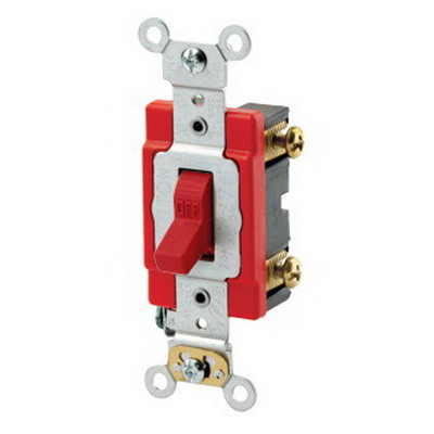 Leviton 1221-2R Extra Heavy Duty Specification Grade AC Quiet Toggle Switch SPST  120/277 Volt AC  20 Amp  Red
