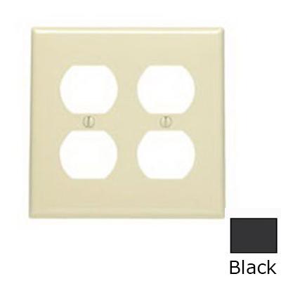 Leviton 80716-E 2-Gang Standard-Size Duplex Receptacle Wallplate; Device Mount, Thermoplastic Nylon, Black