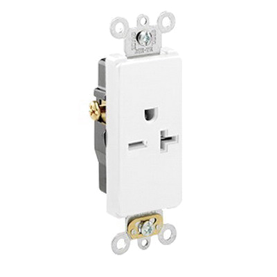 Leviton 16451-W Decora® Plus Double Pole Straight Blade Single Receptacle; Wall Mount, 250 Volt, 20 Amp, White