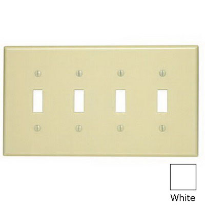 Leviton 80512-W 4-Gang Midway-Size Toggle Switch Wallplate; Device Mount, Thermoset Plastic, White