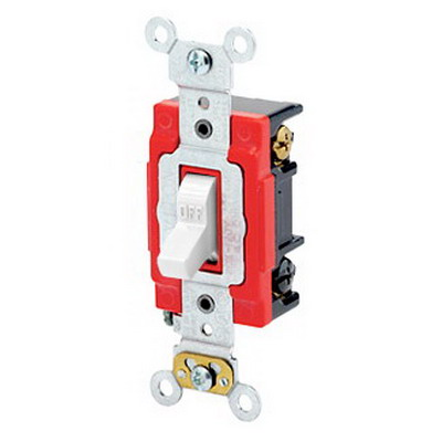 Leviton 1223-2W Extra Heavy Duty Grade AC Quiet 3-Way Toggle Switch; 1-Pole, 120/277 Volt AC, 20 Amp, White