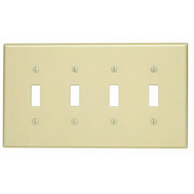 Leviton 80512-I 4-Gang Midway-Size Toggle Switch Wallplate; Device Mount, Thermoset Plastic, Ivory