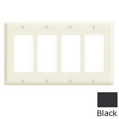 Leviton 80412-E Decora® 4-Gang Standard-Size GFCI Decorator Wallplate; Device Mount, Thermoset Plastic, Black