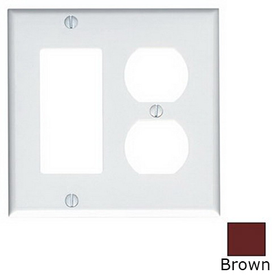 Leviton 80455 Decora® 2-Gang Standard-Size Combination Wallplate; Device Mount, Thermoset Plastic, Brown