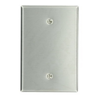 Leviton 84114-40 1-Gang Oversized No Device Blank Wallplate; Box Mount, Stainless Steel, Silver