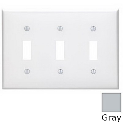 Leviton 80711-GY 3-Gang Standard-Size Toggle Switch Wallplate; Device Mount, Thermoplastic Nylon, Gray