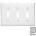 Leviton 80711-GY 3-Gang Standard-Size Toggle Switch Wallplate; Device Mount, Thermoplastic Nylon, Gray
