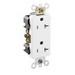 Leviton 16362-W Decora® Plus Double Pole Straight Blade Duplex Receptacle; Wall Mount, 125 Volt, 20 Amp, White