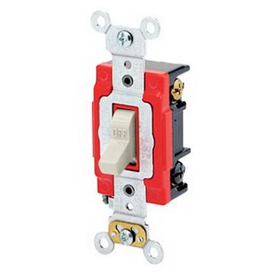 Leviton 1223-2T Extra Heavy Duty Grade Key Locking AC Quiet 3-Way Toggle Switch; 1-Pole, 120/277 Volt AC, 20 Amp, Light Almond