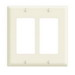 Leviton 80409-A Decora® 2-Gang Standard-Size GFCI Decorator Wallplate; Device Mount, Thermoset Plastic, Almond
