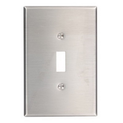 Leviton 84101-40 1-Gang Oversized Toggle Switch Wallplate; Device Mount, Stainless Steel, Silver
