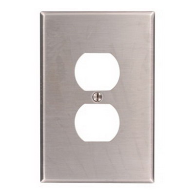 Leviton 84103-40 1-Gang Oversized Duplex Receptacle Wallplate; Device Mount, Stainless Steel, Silver