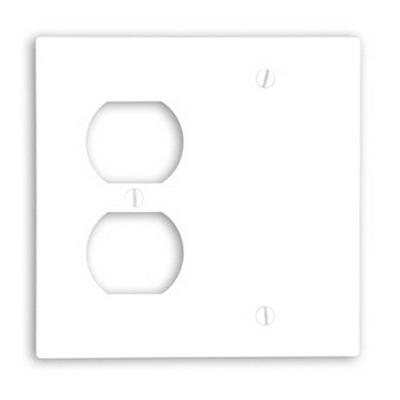 Leviton 88008 2-Gang Standard-Size Combination Wallplate; Box Mount, Thermoset Plastic, White